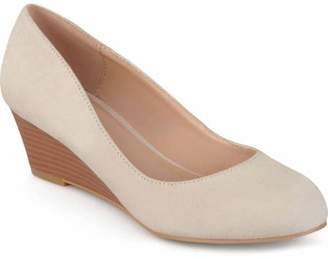 Co Brinley Womens Stacked Wood Heel Classic Faux Suede Wedges