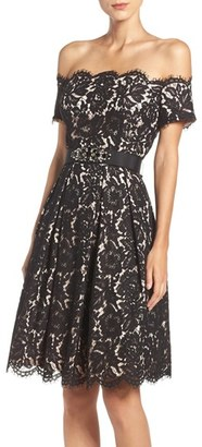 Petite Women's Eliza J Embellished Lace Fit & Flare Dress $248 thestylecure.com