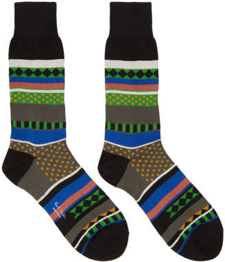 Paul Smith Black Fairisle Jacquard Socks