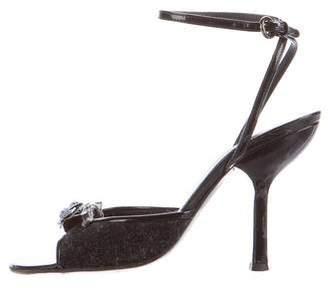 Miu Miu Floral Ankle Strap Sandals