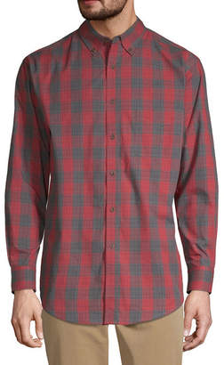 Haggar Weekender Mens Long Sleeve Plaid Button-Front Shirt