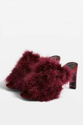Topshop REVIVAL Feather Mules