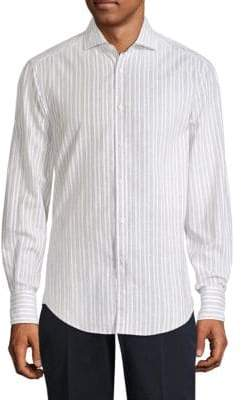 Brunello Cucinelli Striped Long-Sleeve Button-Down Shirt