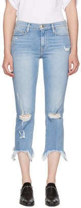 Frame Indigo Le Nouveau Straight Stiletto Hem Jeans