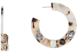 Black Diamond ACCESSORIES Crystal Accented 47mm Flat Hoop Earrings