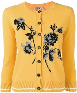 No.21 floral-intarsia cardigan
