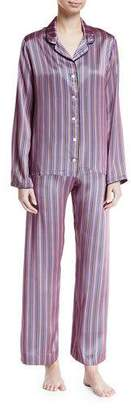 Derek Rose Brindisi Striped Silk Pajama Set