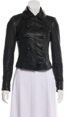 Diane von Furstenberg Leather Double-Breasted Jacket Black Leather Double-Breasted Jacket