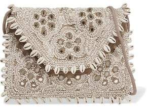 Antik Batik Embellished Embroidered Cotton-Canvas Clutch