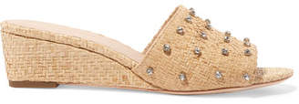 Loeffler Randall Tilly Crystal-embellished Woven Raffia Wedge Sandals