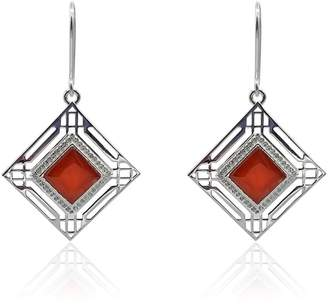 Eliza J Bautista - Marlene Art Deco Earrings With Red Onyx & White Topaz In Silver