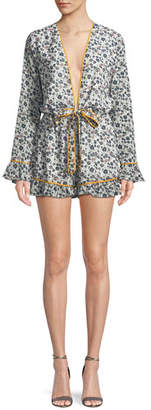 Tularosa Bishop Floral-Print Long-Sleeve Romper