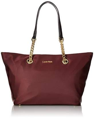 Calvin Klein Florence Dressy Nylon East/West Chain Top Zip Tote