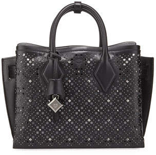 MCM Neo Milla Studded Perforated Leather Tote Bag