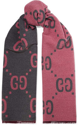 Gucci Reversible Intarsia Wool And Silk-blend Scarf - Pink