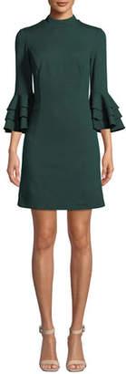 Trina Turk Dylan 2 Tropical Ponte Bell-Sleeve Dress