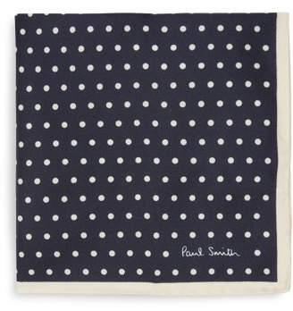 Paul Smith Polka Dot Silk Twill Pocket Square - Mens - Navy Multi
