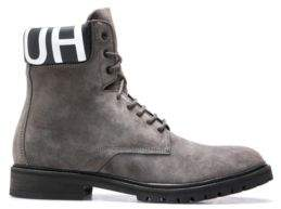 HUGO Boss Lace-up suede boots logo-print padded collar 9 Dark Grey