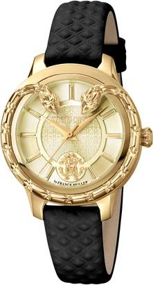 Roberto Cavalli by Franck Muller Serpente Leather Strap Watch