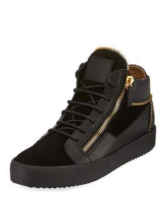 Giuseppe Zanotti men's Velvet & Leather Zipper Mid-Top Sneakers