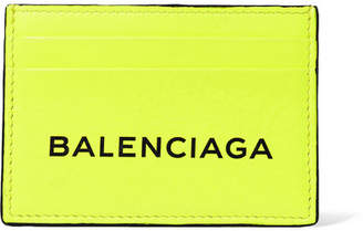 Balenciaga Printed Neon Leather Cardholder - Bright yellow