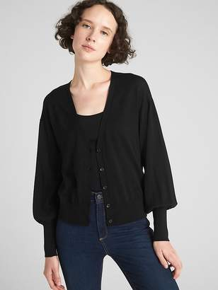 Gap Balloon Sleeve Cardigan Sweater in Merino Wool