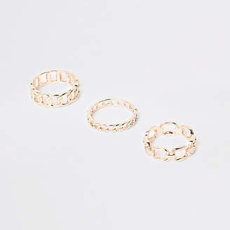 River Island Gold tone curb chain ring pack