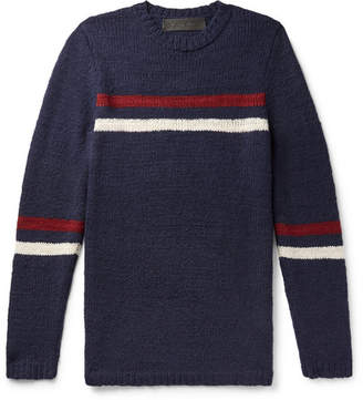 The Elder Statesman Slim-fit Striped Cashmere Sweater - Navy