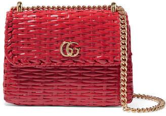 Gucci Linea Cestino Mini Coated-wicker Shoulder Bag - Red
