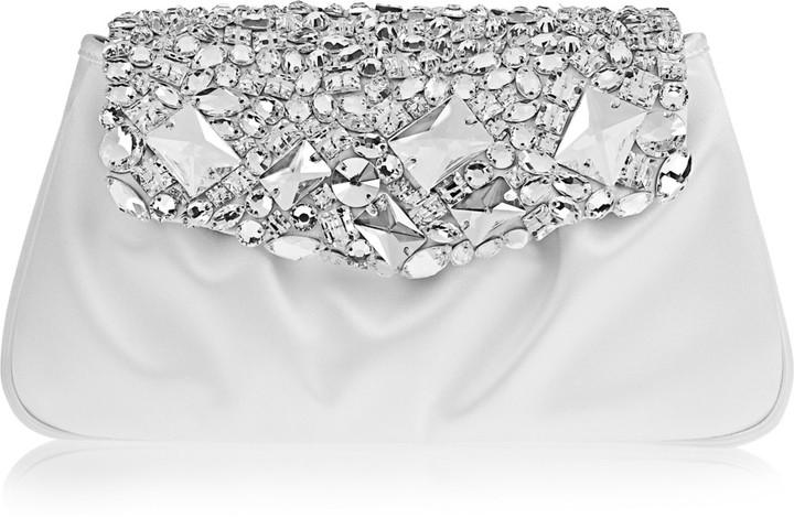 Yves Saint Laurent Swarovski crystal-embellished satin clutch