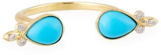 Jude Frances 18k Open Double-Teardrop Stone Ring, Size 6.5