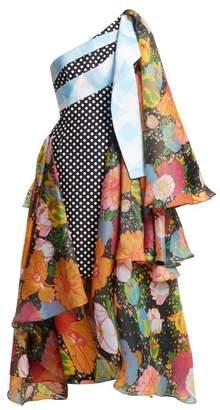 Richard Quinn - Draped Floral Print Asymmetric Dress - Womens - Multi
