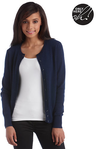 Lord & Taylor Petite Fall Bold Collection Cashmere Crewneck Cardigan