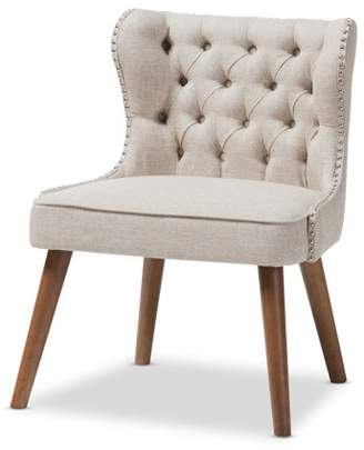 Baxton Studio Scarlett Mid-Century Modern Brown Wood and Light Beige Fabric Upholstered Button-Tufting with Nail Heads Trim 1-Seater Accent Chair