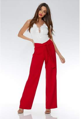 Quiz Red Crepe Tie Belt Palazzo Trousers