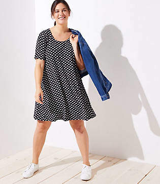LOFT Plus Leafed Short Sleeve Swing Dress