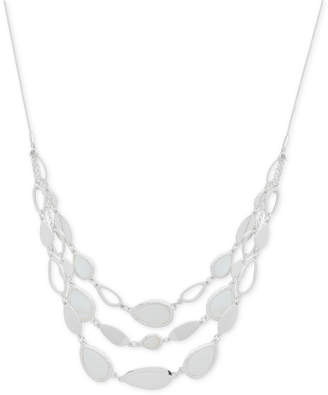 "Nine West Silver-Tone Imitation Mother-of-Pearl Triple-Row Collar Necklace, 16"" + 2"" extender"