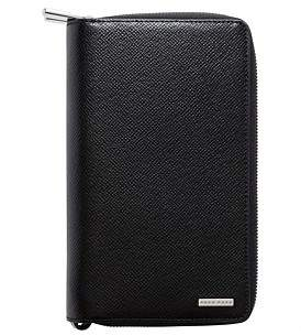 HUGO BOSS Signature Embossed Leather Double Zip Travel Wallet