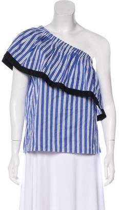 Milly Striped One-Shoulder Blouse