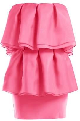 Emilio De La Morena Volant Silk Voile Strapless Dress - Womens - Pink