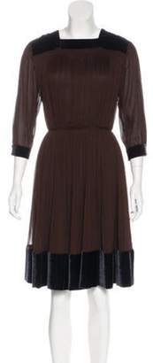 Sophie Theallet Velvet-Trimmed Pleated Dress Velvet-Trimmed Pleated Dress
