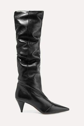 Miu Miu Leather Knee Boots - Black