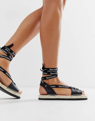 Juicy Couture leather tie ankle flat sandals