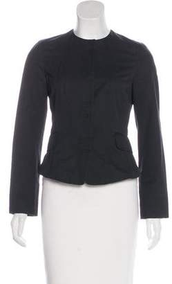 Burberry Collarless Snap-Front Jacket