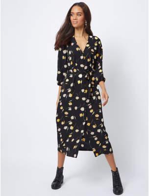 87a4621a64ce George Black Floral Print Button Front Midi Dress