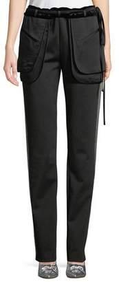 Valentino Inside-Out Pocket Satin Tech Jersey Straight-Leg Pants