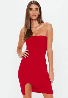 Missguided Red Bandeau Split Hem Bodycon Dress