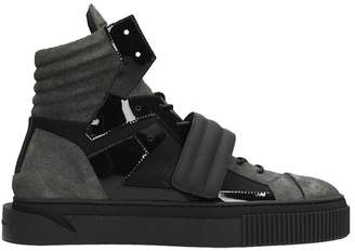 Gienchi Hypnos Black Rubber And Grey Fabric Sneakers