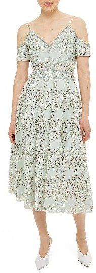 Topshop Women's Topshop Laser Cut Off The Shoulder Midi Dress