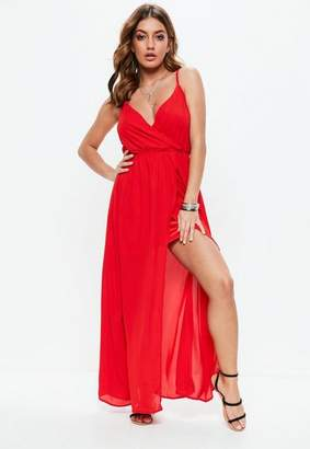 Missguided Red Sheer Strappy Maxi Dress